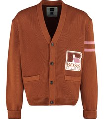hugo boss boss x russell athletic - buttoned cotton cardigan