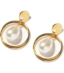 ivory teardrop hoop earrings