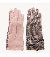 women's houndstooth glove with knot detail taupe multi one size from sole society