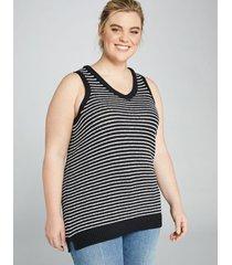 lane bryant women's striped sleeveless sweater tunic 10/12 black and white stripe