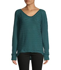 raglan-sleeve high-low cotton sweater
