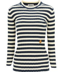 kenzo striped sweater tiger crest patch
