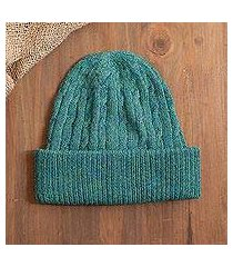 100% alpaca knit hat, 'comfy in teal' (peru)