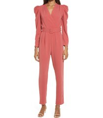 women's adelyn rae dece long sleeve belted jumpsuit, size large - red