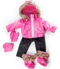 "18"" doll clothes, 6 piece zippered pink ski jacket, pants, gloves, boots, compatible with american girl dolls"