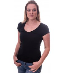 claesens women t-shirt v-neck s/s black( cl 8010 )
