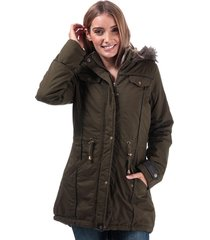 brave soul womens allure padded parka jacket size 16 in green