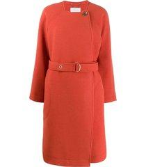 chloé belted wool coat - orange