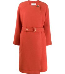 chloé belted wool coat - orange