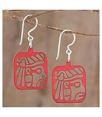 recycled wood dangle earrings, 'mayan essence in red' (guatemala)