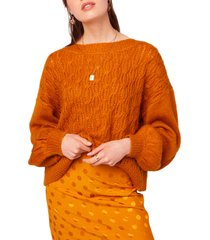 women's b.o.g. collective sepulveda cable crewneck sweater, size large - orange