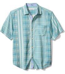 men's tommy bahama bay street blues short sleeve silk button-up shirt, size small - blue