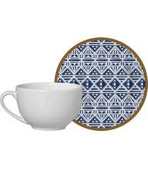 jogo de xícaras de chá com pires alleanza étnico cerâmica com 4 peças 250ml