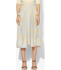 proenza schouler brush printed belted midi skirt butter/grey big brush/yellow 8