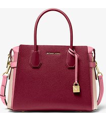 mk borsa a mano mercer media in pelle martellata tricolore - berry multi - michael kors
