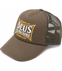 deus ex machina mesh-panelled embroidered cap - green