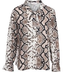 fame blouse met strik van beige