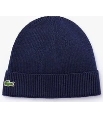 lacoste ribbed wool beanie |marine| rb3502-166