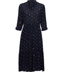 dress, feminine shape, v-neck with knälång klänning blå marc o'polo
