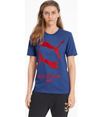 puma x balmain graphic t-shirt, blauw, maat m