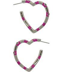 brinco infine argola de coraã§ã£o esmaltada em rosa pink com zircã´nia banhada a rã³dio - prata - feminino - dafiti