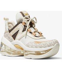 mk sneaker olympiaextreme in tela color-block e mesh - panna (naturale) - michael kors