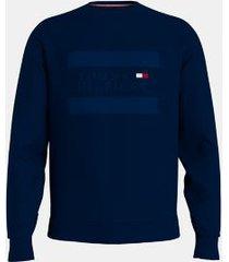 tommy hilfiger men's organic cotton embroidered logo sweatshirt navy - s