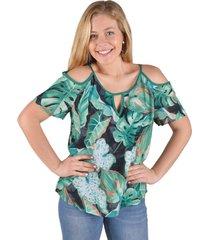 blusa floreada verde alexandra cid