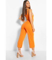 ribbed thick strap sqaure neck culotte jumpsuit, orange