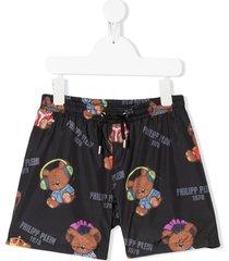 philipp plein teddy bear print swim shorts - black