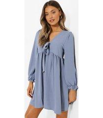 gesmokte jurk met strik, blue