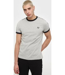 fred perry taped ringer t-shirt t-shirts & linnen grey