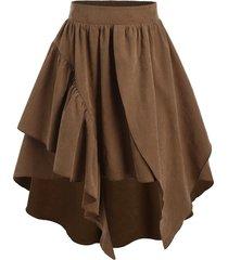 plain layered asymmetrical elastic waist skirt