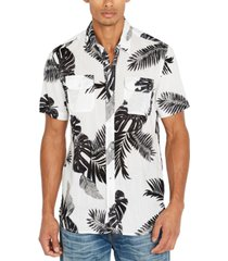 buffalo david bitton men's palm leaf print shirt