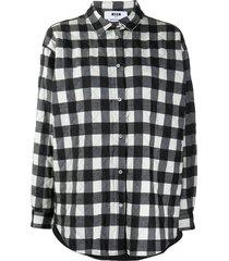 msgm quilted plaid shirt - black