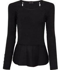 blusa le lis blanc acinturada pérola tricot preto feminina (preto, gg)