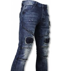 biker jeans - slim fit zipped biker jeans with paint drops