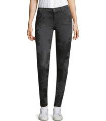 j brand women's embossed print skinny jeans - black rose - size 24 (0)