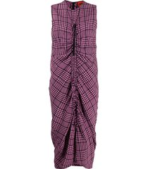 colville gathered plaid dress - pink