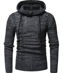 half button drawstring hooded sweater
