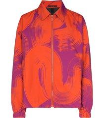 issey miyake jaqueta com estampa e zíper - laranja