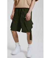 koyye hombres streetwear hip hop ribbon cintura elástica casual cargo shorts