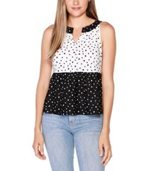 belle by belldini polka dot split neck color blocked top with peplum