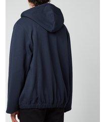 kenzo men's pin tuck full-zip hoodie - blue black - xxl