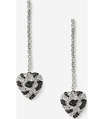 *leopard heart drop earrings - multi