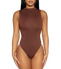 women's naked wardrobe jersey sleeveless bodysuit, size medium - brown
