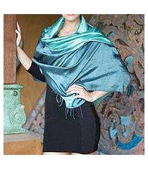 silk shawl, 'shimmering green' (thailand)
