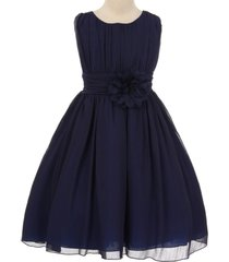 navy blue yoryu chiffon flower girl dresses birthday bridesmaid pageant wedding