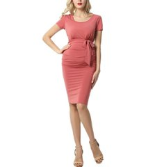 kimi + kai lana maternity ruched belted dress