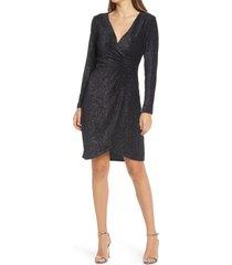 women's julia jordan velvet ribbing foil long sleeve dress, size 16 - black